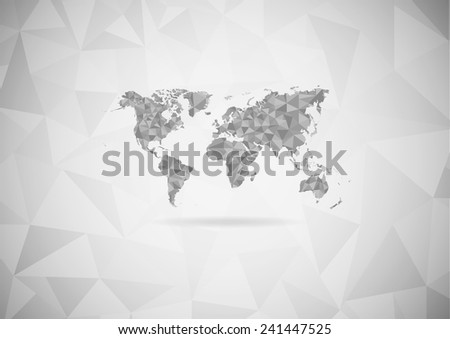 Gray world map lay over with triangular pattern on gray gradient background. (EPS10 Art vector) - stock vector