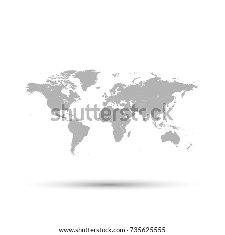 Gray world map on white background stock vector 735625555 gray world map on white background sciox Gallery