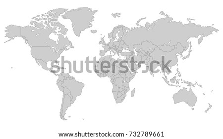 Gray world map all country borders stock vector 732789661 gray world map with all country borders in dark grey color gumiabroncs Gallery