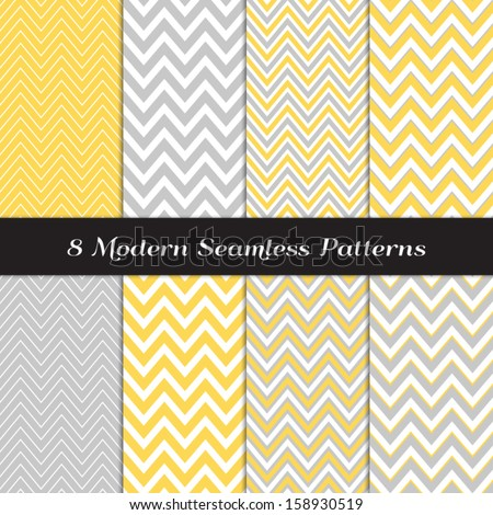 Gray, Yellow and White Thick and Thin Chevron  Patterns. Blog Background in Pastel Colors. Pattern Swatches included and made with Global Colors. - stock vector