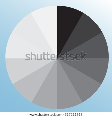 Grayscale color swatch, wheel. Black to white tints. Isolated object on light blue background - stock vector