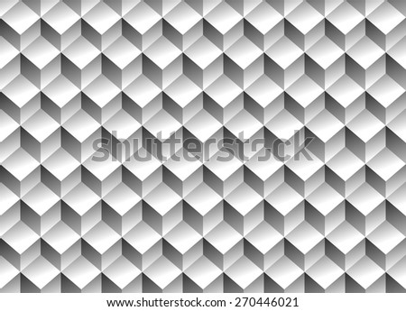 Grayscale 3d Cubes minimal, repeatable pattern (simple seamless, spatial geometry, vector graphics)  - stock vector