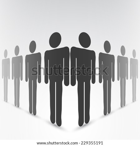 Grayscale eight people (man figure) with gray drop shadow isolated in flat style. Graphic clip-art design elements. - stock vector