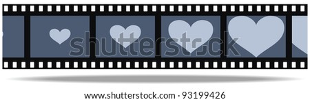 Grayscale film with heart in frames