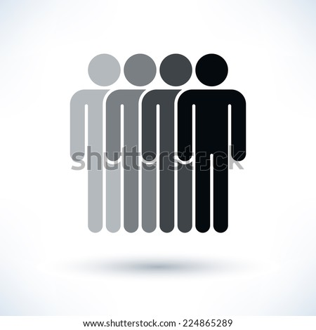 Grayscale four people (man figure) with gray drop shadow isolated on white background in flat style. Graphic clip-art design elements save in vector illustration 8 eps - stock vector