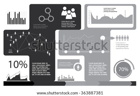 grayscale infographics template - stock vector