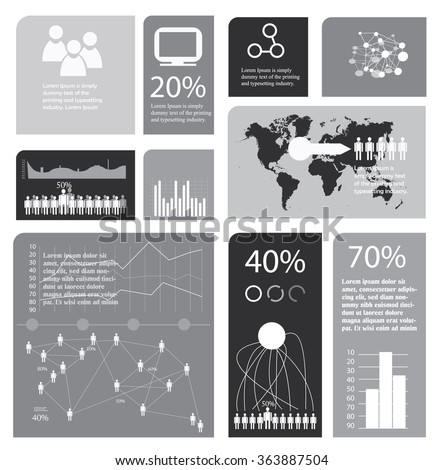 Grayscale Infographics Template World Map Stock Vector (Royalty Free ...