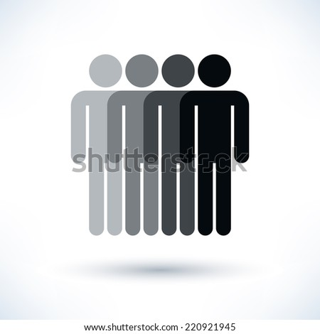 Grayscale logotype four man. Simple silhouette information sign with gray drop shadow isolated on white background in flat style. Graphic clip-art design elements in vector illustration 8 eps - stock vector