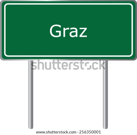 Graz, Austria, road sign green vector illustration, road table - stock vector