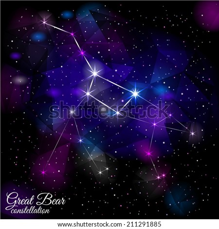 Great Bear Constellation. True star and nebulosity positions. Smartly layered. Mask was used. - stock vector