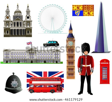 Great Britain and London landmarks, English traditional symbols vector set. Isometric icons collection. Isolated on white