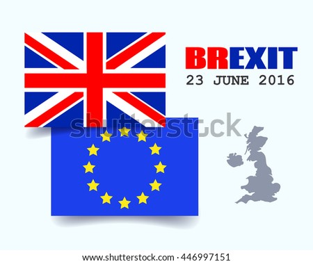 Great Britain Flag and European Union Flag. EU UK Referendum. United Kingdom exit from Europe. Brexit. Vector Illustration. - stock vector