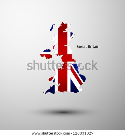 Great Britain flag on map of country - stock vector