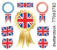 great britain flags and rosettes isolated on white - stock vector