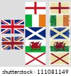 Great Britain flags. Grunge effect can be cleaned easily. - stock photo