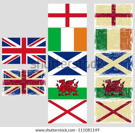 Great Britain flags. Grunge effect can be cleaned easily. - stock vector