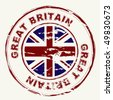 Great Britain grunge ink rubber stamp with union flag - stock photo