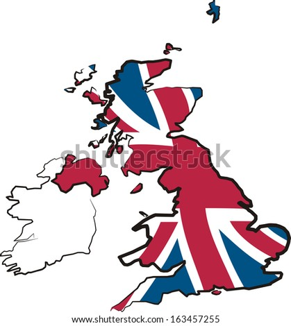 great britain - map and flag - stock vector