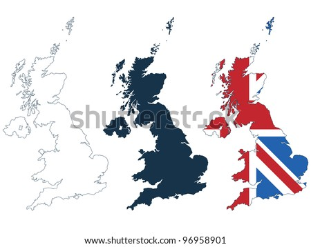 great britain map in line, silhouette and flag format isolated on white - stock vector
