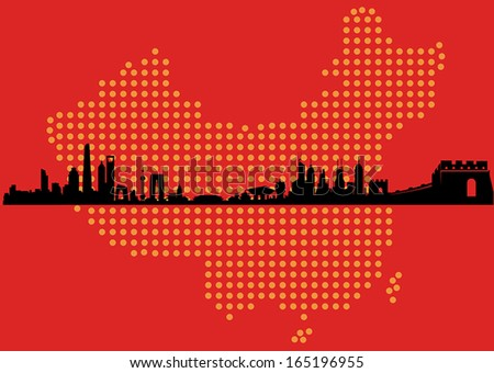 Great China Map Skyline - stock vector