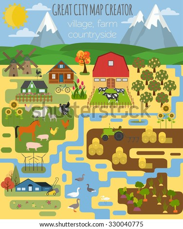 Great city map creator. Village, farm, countryside, agriculture. Make your perfect city. Vector illustration