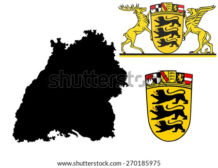 Great Coat of arms of Baden-wurttemberg, Germany, isolated vector in official colors and Proportion Correctly.Baden-Wurttenberg vector map, high detailed silhouette illustration. Province in Germany