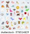 great collection of cute children's stickers labels. many baby stripes and labels. there are animals, birds, marine life. the template for the scrapbook. vector illustration. baby shower or arrival