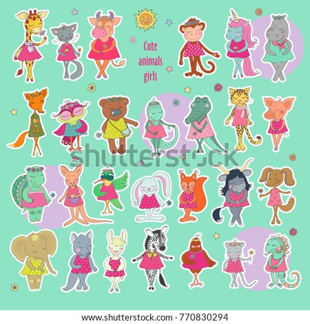 Great Collection Cute Stickers Animals Girls Stock Vector 770830294