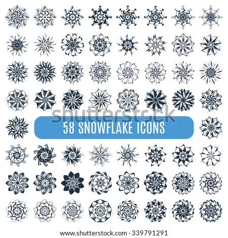 Great collection of elegant stylish snowflakes isolated on white background. Cute design of snowfall elements. Set of 58 absolutly different snowflakes. New Year and Christmas concept. Vector - stock vector