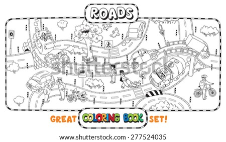 Great coloring book or coloring picture of roads, crossings, cars and people - stock vector