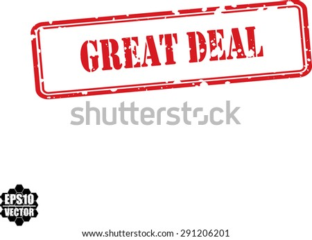 Great deal red grunge rubber stamp, vector