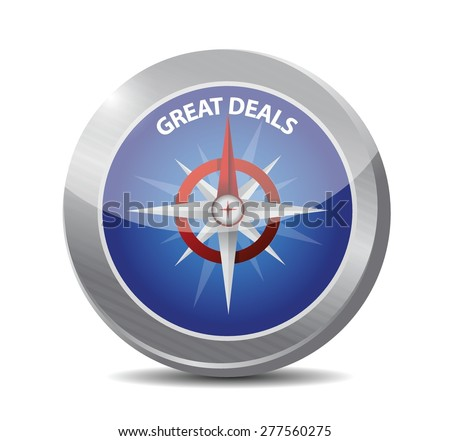 great deals compass sign concept illustration design over a white background