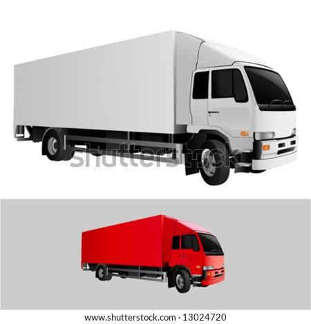 great detail cargo truck vector - stock vector