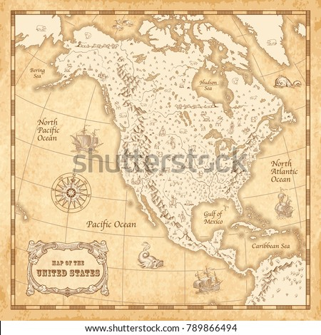 Great Detail Illustration North America Map Stock Vector 789866494