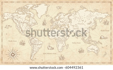 Great detail illustration world map vintage stock vector 604492361 great detail illustration of the world map in vintage style with mountains trees cities gumiabroncs Image collections