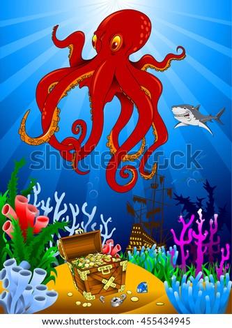 great evil octopus pirate guarding a treasure, vector - stock vector
