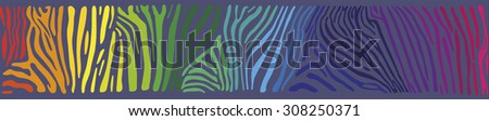 Great horizontally seamless vector background with multicolored Zebra skin  - stock vector