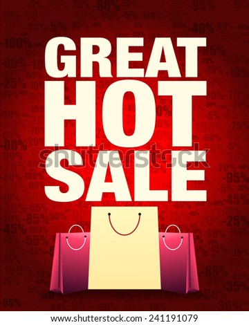Great hot sale design and shopping bag with percentage red gradient background. - stock vector