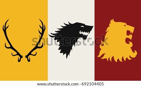 Great Houses Minimalistic Icons. A song of Ice and Fire Great House Heraldry. Game of Thrones heraldic vector sign. Game of Thrones Vector Icons. Great Houses of Westeros. CMYK.