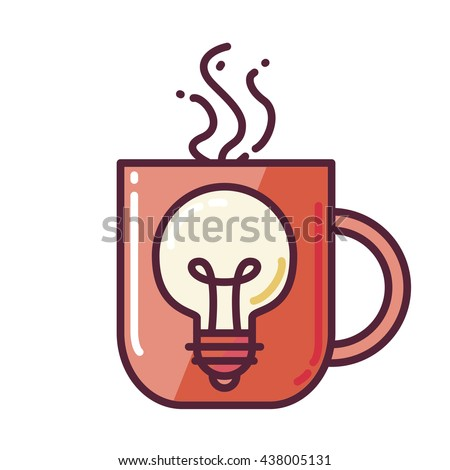Great Idea Concept with Light Bulb Shape and cup of drinking. Thought and imagination symbol. Vector - stock vector