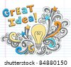 Great Idea LIghtbulb Hand-Drawn Sketchy Notebook Doodles on Lined Sketchbook Paper Background- Vector Illustration - stock photo