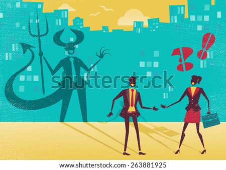 Great illustration of a businessman who is exposed as a Devil in real life by a clever businesswoman who sees right through his clever and evil disguise. He is not what he seems to be. - stock vector
