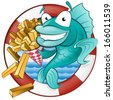Great illustration of a Cute Cartoon Cod Fish eating a tasty Traditional British portion of chips. - stock photo