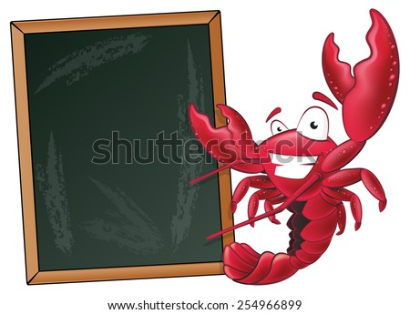Great illustration of a happy lobster waving his pincers in the air next to a chalkboard. - stock vector