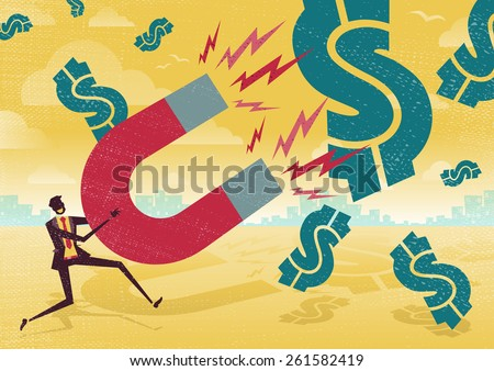 Great illustration of Retro styled Businessman catching all the money with his giant cash catching Magnet.