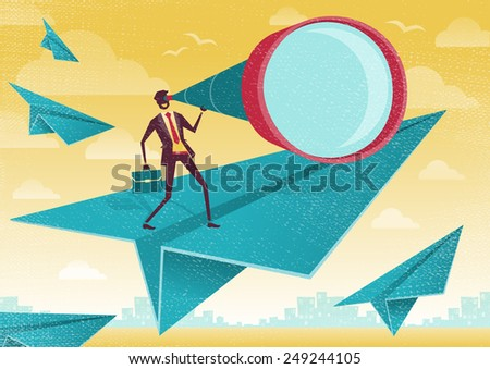 Great illustration of Retro Styled Businessman who is scanning the business landscape with his powerful telescope.