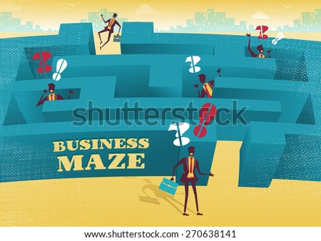 Great illustration of Retro styled Businessman with a very difficult task ahead of him to find his way through a maze to the other side. Rivals have already found out how difficult the journey can be. - stock vector