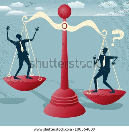 Great illustration of Retro styled Businessmen balancing on a huge set of metaphorical scales.  - stock vector