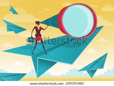 Great illustration of Retro Styled Businesswoman who is scanning the business landscape with her powerful telescope.   - stock vector