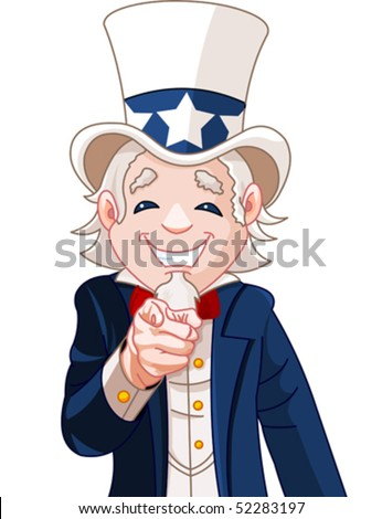 Great illustration of Uncle Sam pointing. Perfect for a USA or Fourth of July illustration. - stock vector